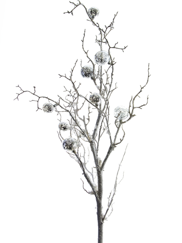 """Picture of 41"""" SNOWY BRANCH W/BALLS"""