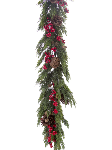 Picture of 5'CEDAR W/BERRY&CONES GARLAND