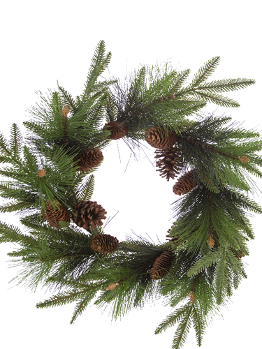 """Picture of 24"""" FIR PINE W/CONES WREATH"""