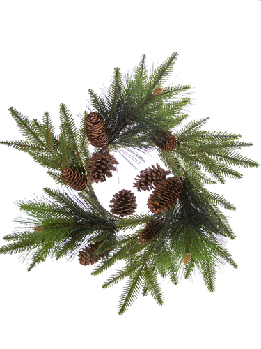 "Picture of 18"" FIR PINE W/CONES C.RING"