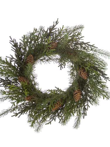 """Picture of 26"""" MIX PINE W/CONE WREATH"""