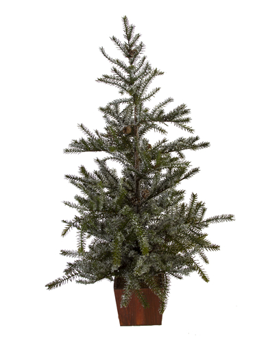 "Picture of 35"" SNOWY SPRUCE TREE W/CONES"